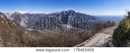 Panorama from Monte San Simeone to Monte Chiampon and Friuli-Venezia Giulia in Italy