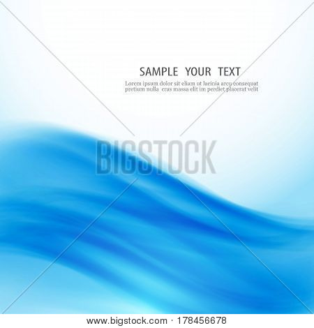 Blue Abstract Background Blue flowing lines on a white background.Abstract vector wave.