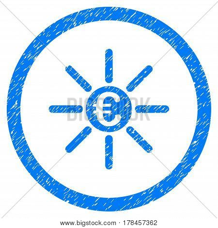Rounded Euro Distribution rubber seal stamp watermark. Icon symbol inside circle with grunge design and unclean texture. Unclean vector blue sign.