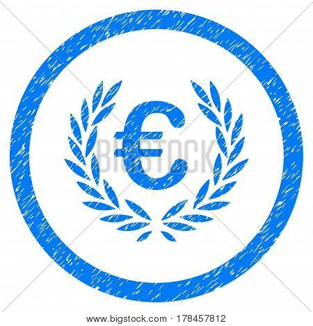 Rounded Euro Glory rubber seal stamp watermark. Icon symbol inside circle with grunge design and scratched texture. Unclean vector blue emblem.