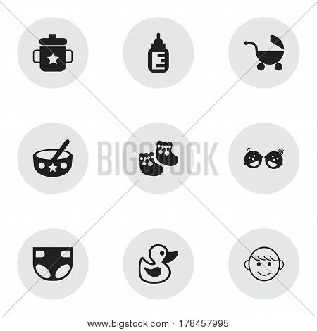 Set Of 9 Editable Kid Icons. Includes Symbols Such As Twins Babies, Goplet, Spoon And More. Can Be Used For Web, Mobile, UI And Infographic Design.
