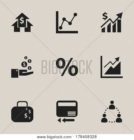 Set Of 9 Editable Logical Icons. Includes Symbols Such As Banking House, Profit, Graph Information And More. Can Be Used For Web, Mobile, UI And Infographic Design.