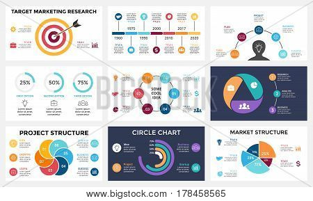 Circle arrows diagram for graph infographic presentation with steps parts options.