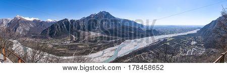 Panorama from Monte San Simeone to Monte Chiampon and river Tagliamento in Friuli-Venezia