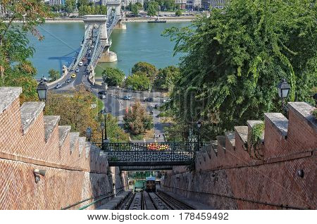 Funicular (Siklo) from the Chain Bridge to the Royal Palace in Budapest, Hungary
