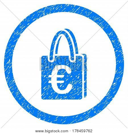 Rounded Euro Shopping Bag rubber seal stamp watermark. Icon symbol inside circle with grunge design and scratched texture. Unclean vector blue emblem.