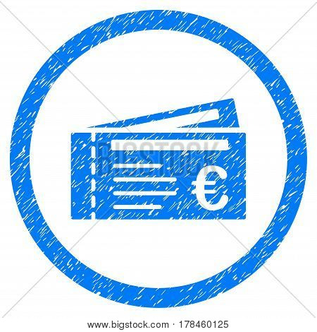 Rounded Euro Tickets rubber seal stamp watermark. Icon symbol inside circle with grunge design and unclean texture. Unclean vector blue sign.