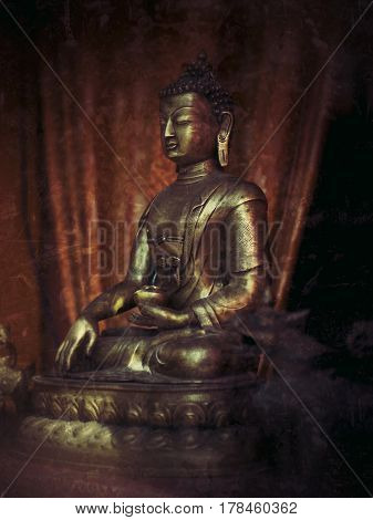 Buddha brass figure in a shop window