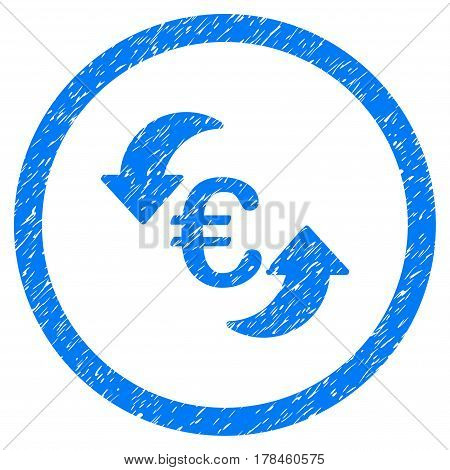 Rounded Update Euro rubber seal stamp watermark. Icon symbol inside circle with grunge design and scratched texture. Unclean vector blue sign.