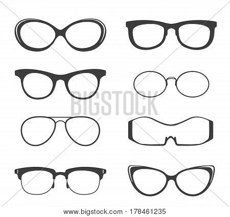 Glasses vector black silhouette set. Hipster and medicine eyeglasses, round frame sunglasses isolated on white background