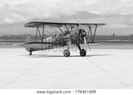 Vicky Benzing Taxiing Her 1940 Boeing Stearman