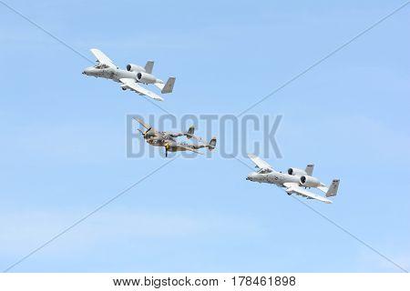 A-10 Thunderbolt Ii And Lockheed P-38 Lightning On Display