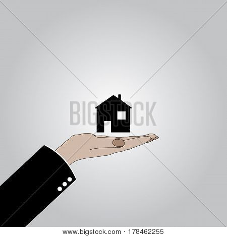 Hand holds the house. The Bank provides mortgage