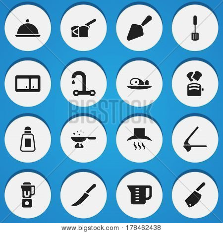 Set Of 16 Editable Cooking Icons. Includes Symbols Such As Sword, Hand Mixer, Faucet. Can Be Used For Web, Mobile, UI And Infographic Design.