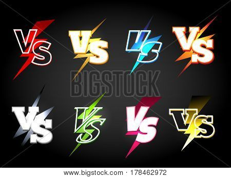 Versus or vs confrontation labels. Slag battle vector icons in 80s light eclair style