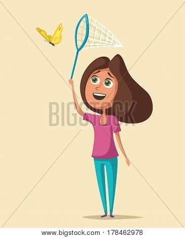 Happy girl catching butterflies. Cartoon vector illustration. Kid character. Hobby and game.