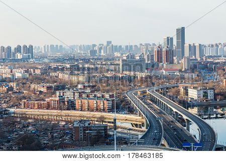 panoramic view of cityscape in city of China.