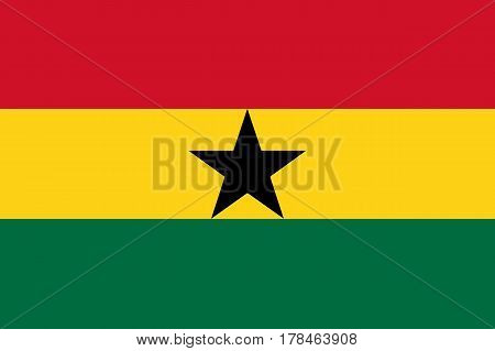 Detailed and accurate illustration of colored flag of Ghana