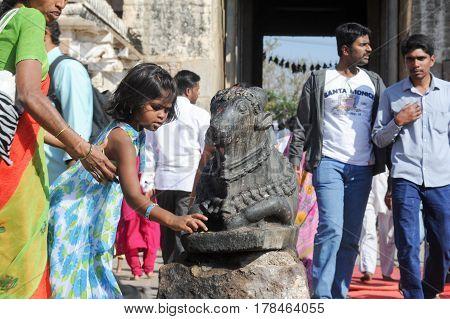 Indian People Brings Offerings To Nandi Bull At Virupaksha Temple
