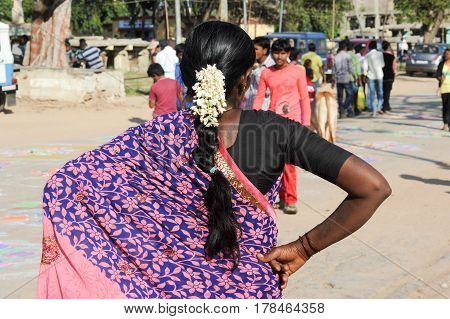 Indian Woman On Traditional Dress At Hampi