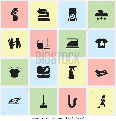 Set Of 16 Editable Dry-Cleaning Icons. Includes Symbols Such As Rubbish Container, Washing Tool, Window Cleaner And More. Can Be Used For Web, Mobile, UI And Infographic Design.