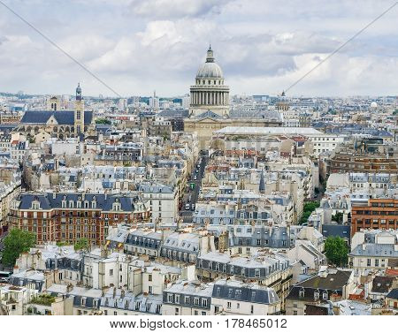 View from the tower of the Cathedral Notre-Dame de Paris to south including the Pantheon and part of the Latin Quarter