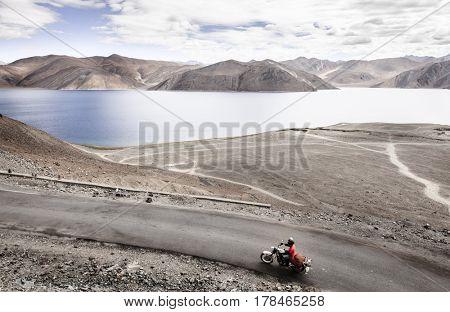 Road overlooking Pangong Tso Lake in Western Himalayas near India-China border