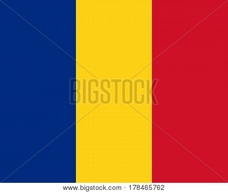 Detailed and accurate illustration of colored flag of Romania