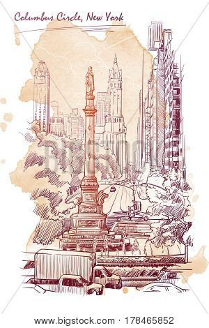 Urban view of Columbus Circus and West 59th street in New York. Hand drawn sketch on grunge textured spot background. EPS10 vector illustration.