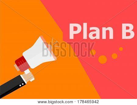 Flat Design Business Concept. Plan B Digital Marketing Business Man Holding Megaphone For Website An