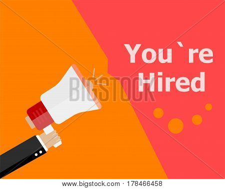 Flat Design Business Concept. You Are Hired. Digital Marketing Business Man Holding Megaphone For We