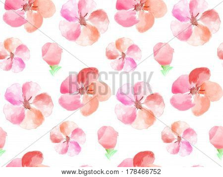 Seamless Watercolor floral pattern. Vector Flower Pattern