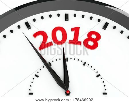 Black clock with 2018 represents coming new year 2018 three-dimensional rendering 3D illustration