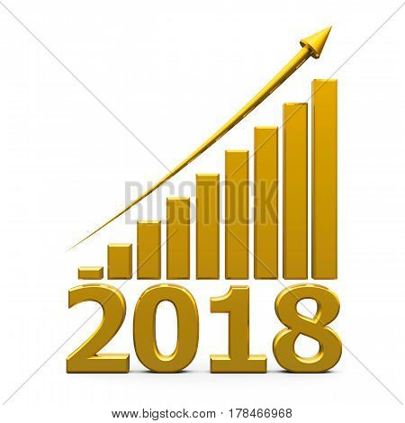 Gold business graph with gold arrow up represents the growth in 2018 year three-dimensional rendering 3D illustration