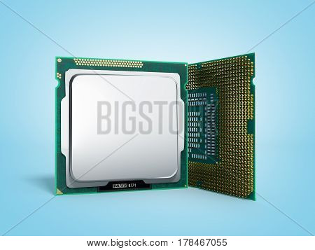 Central Computer Processors Cpu High Resolution 3D Illustration On Blue