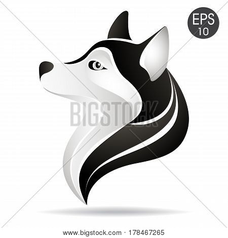 Husky head profile logo. Stock vector illustration of alaskan dog for your design