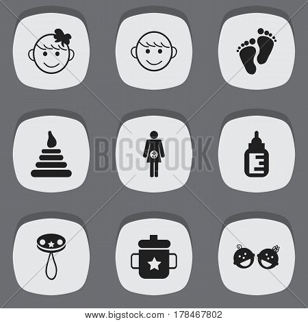 Set Of 9 Editable Kid Icons. Includes Symbols Such As Merry Children, Cheerful Child, Rattle And More. Can Be Used For Web, Mobile, UI And Infographic Design.
