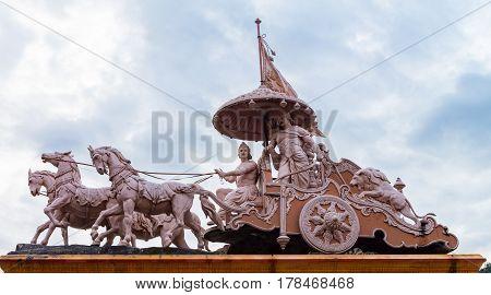 Sculpture of Hindu God Krishna and Arjuna at Rishikesh Uttarakhand India