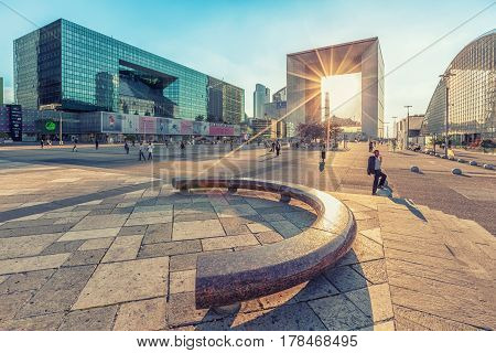 Paris France - July 17 2014: Sun rays passing through Grande Arche building in La Defence business district