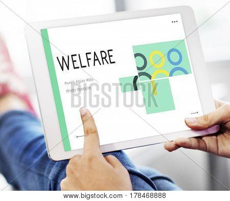 social fundraising for charity foundation on digital tablet