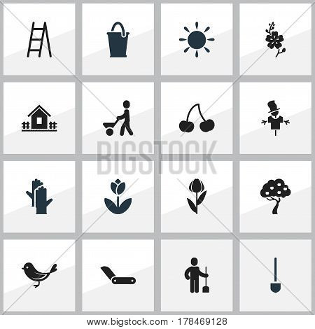 Set Of 16 Editable Planting Icons. Includes Symbols Such As Alstroemeria, Clasp Knife, Home With Fence And More. Can Be Used For Web, Mobile, UI And Infographic Design.