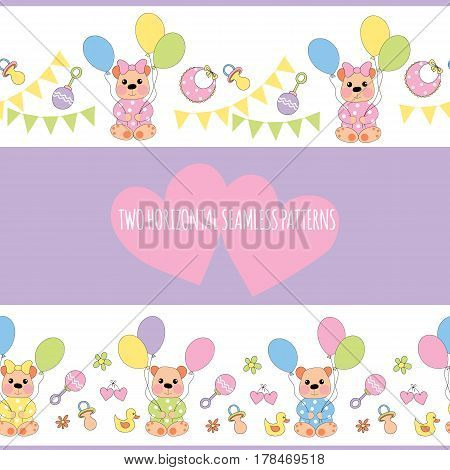 Two horizontal seamless patterns with baby-bear balloons and children's accessories. Vector illustration.