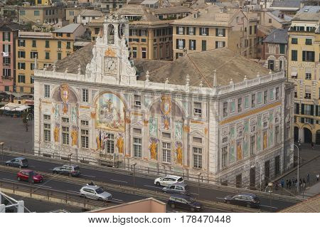 Palace of St. George with wall-painting on the front in Genoa, Italy