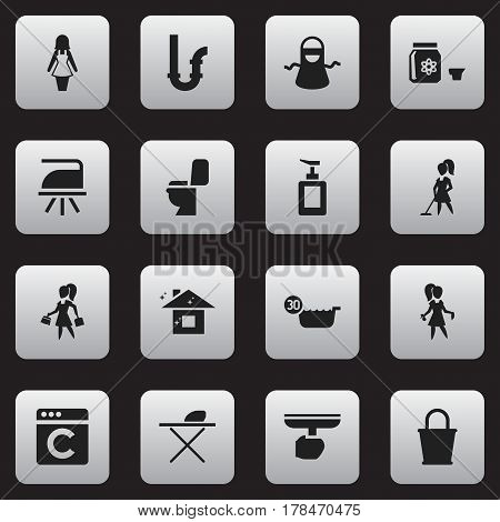 Set Of 16 Editable Cleanup Icons. Includes Symbols Such As Kitchen Clothing, Cold Water, Hand Sanitizer. Can Be Used For Web, Mobile, UI And Infographic Design.