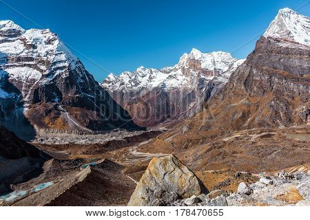 Mountain Valley View in Himalaya Region with Glaciers Rivers Lakes and high Summits