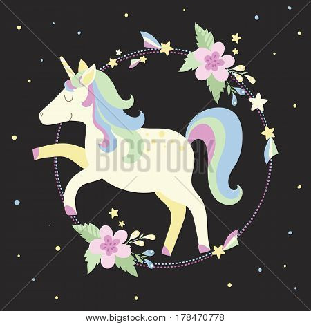 Cute unicorn with frame flowers and stars in pastel colors on a black background. Perfect for decorating presents scrapbook pages party decorations book/journal cover product design apparel birthday