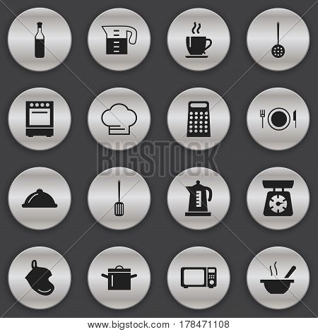 Set Of 16 Editable Restaurant Icons. Includes Symbols Such As Food Libra, Beer, Bowl And More. Can Be Used For Web, Mobile, UI And Infographic Design.