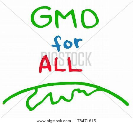 Support GMO gene modified food for all sing inscription green red blue color vector illustration