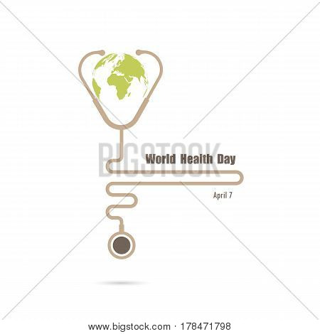 Globe sign and stethoscope vector logo design template.World Health Day icon.World Health Day idea campaign concept for greeting card and poster.Vector illustration