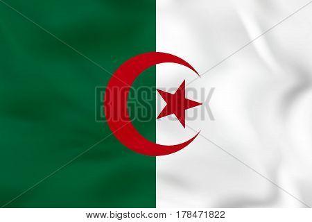Algeria Waving Flag. Algeria National Flag Background Texture.